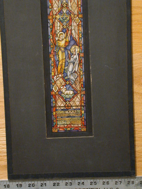 "[Design drawing for stained glass window ""Ave Maria"" showing Annunciation; with text ""In Living Memory of...""]"