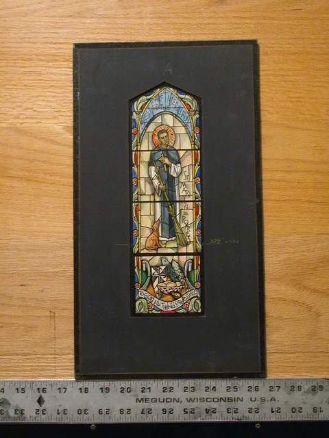 """[Design drawing for stained glass window """"Blessed Are the Merciful: with broom, dog, fish, mouse, cross crest, and Macintosh roses for St Martin De Porres]"""