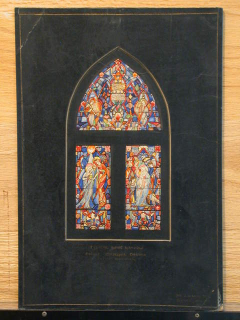 "[Design drawing for stained glass window ""Blessed are the Poor in Spirit ..."" a 3-window Gothic arch composition with abstracted, ornate Medieval saints and scenes: Annunciation, etc., for Christ Episcopal Church]"