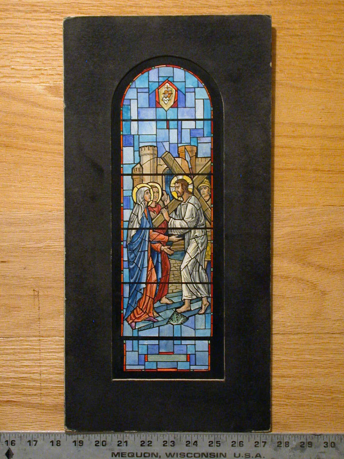 """[Design drawing for stained glass window """"Blessed Lady Mary;"""" Christ bears Cross and blesses Mary]"""
