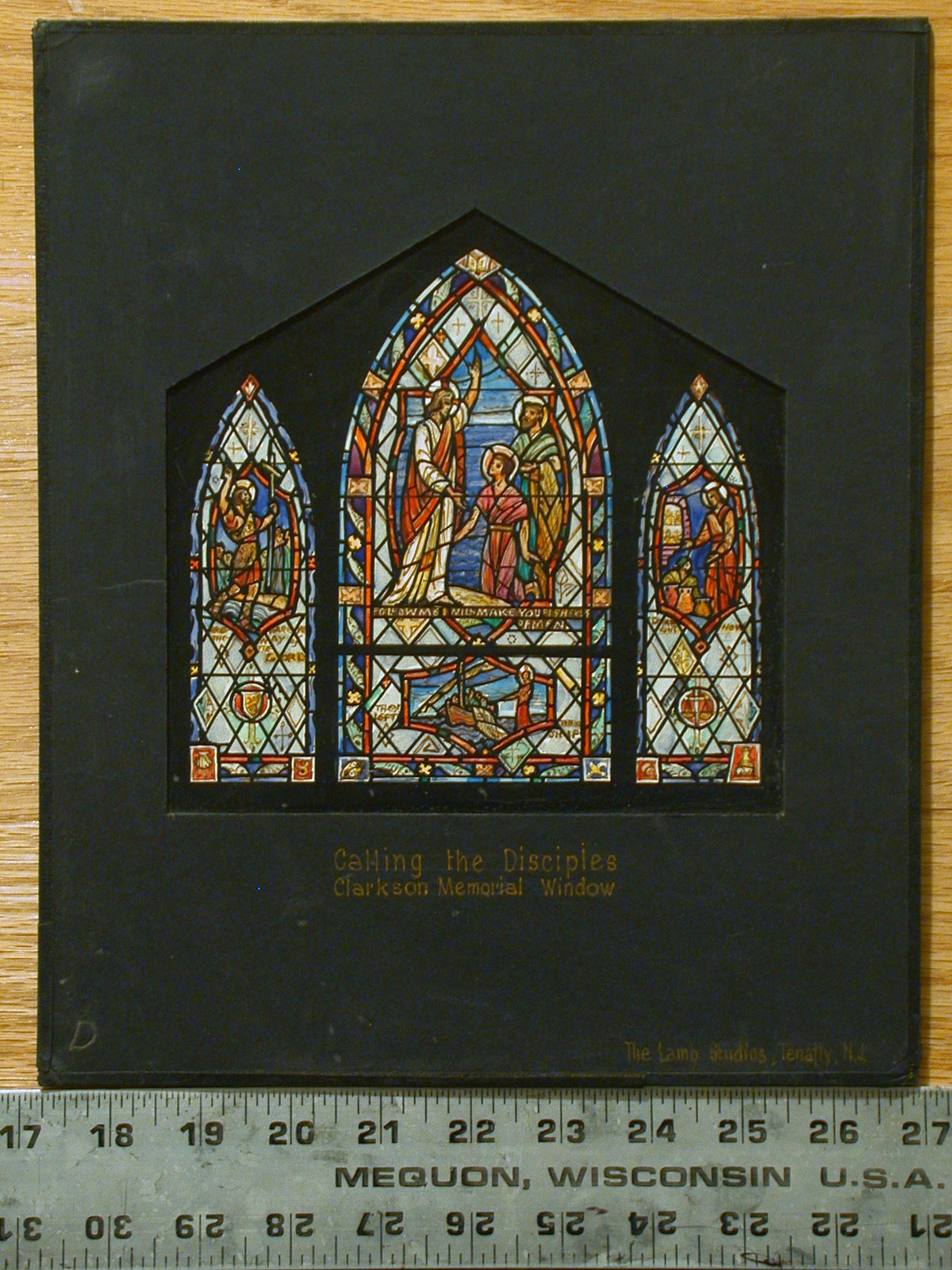 """[Design drawing for stained glass window """"Calling the Disciples"""" with scenes, symbols, and quotes: """"Follow Me and I will make you...""""]"""