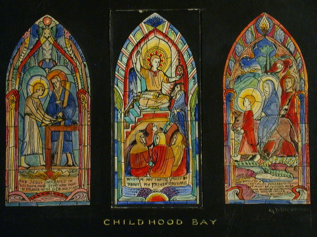 "[Design drawing for stained glass window ""Childhood Bay"" with 3 scenes of young Christ]"