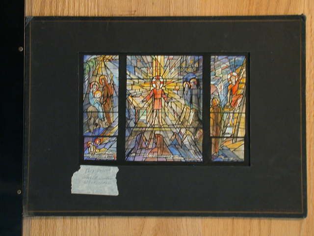 """[Design drawing for stained glass window """"Childhood Bay"""" with text """"Episodes of His Boyhood"""" showing Christ maturing through Flight into Egypt; Temple; young journeyman carpenter]"""