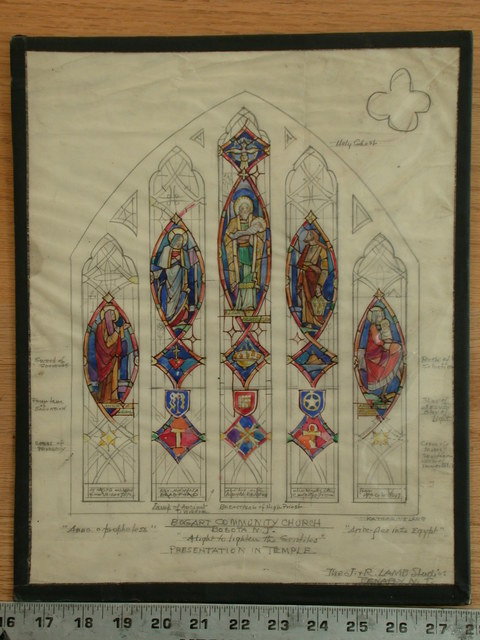 "[Design drawing for stained glass window for Bogart Community Church in Bogota, New Jersey, with text ""A light to lighten the Gentiles"" showing the presentation in the temple]"