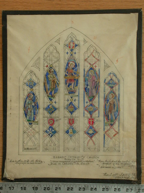 "[Design drawing for stained glass window for Bogart Community Church in Bogota, New Jersey, with text ""Jesus increased in wisdom & stature"" and showing Jesus in carpentry shop]"