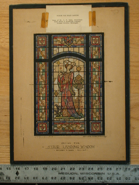 "[Design drawing for stained glass window for C.F. Bohn Residence in Grosse Pointe, Michigan, with text on mount ""Design For Stair Landing Window"" and showing a romantic Medieval lady with headdress, crenellated castle, and fleur-de-lis]"