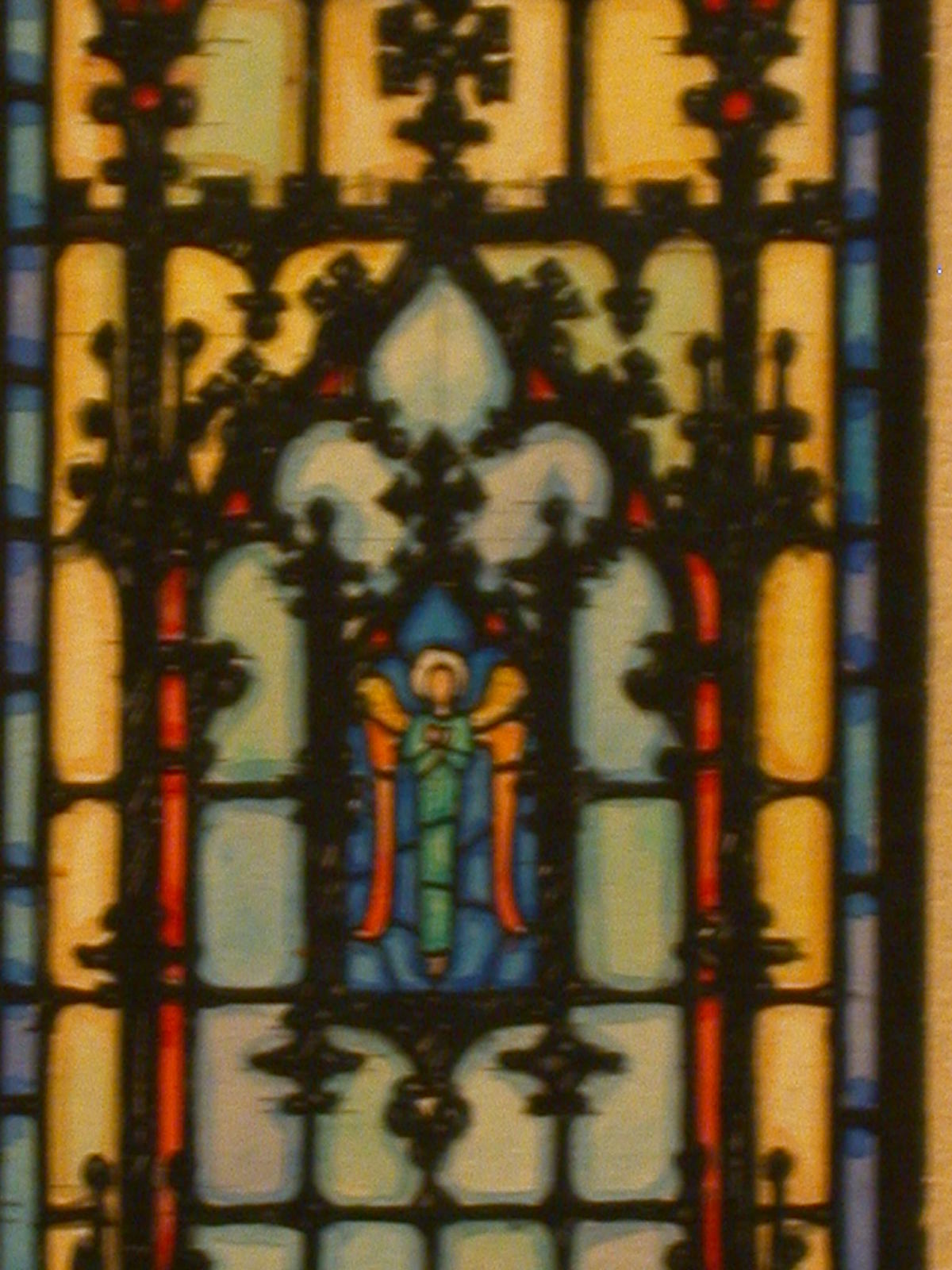 [Design drawing for stained glass window for Ferncliff Mausoleum with design C2 of an angel]