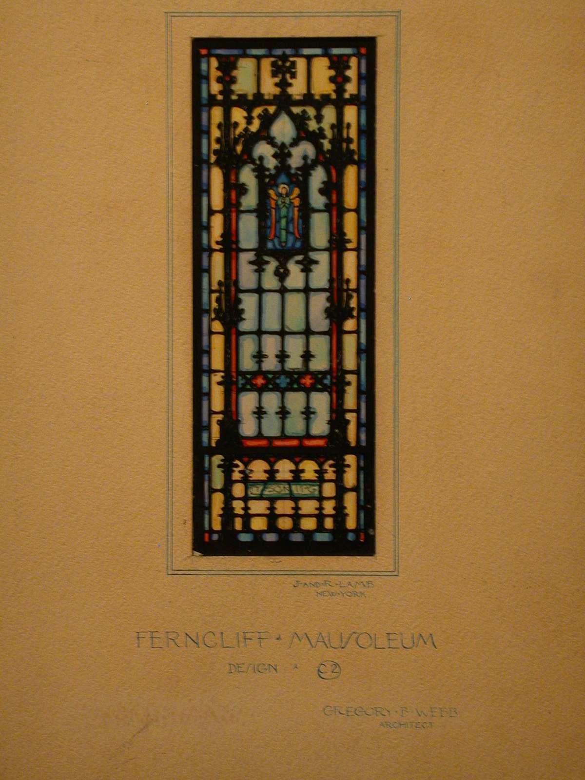 Design drawing for stained glass window for Ferncliff Mausoleum with design C2 of an angel