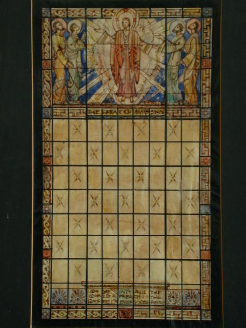 """[Design drawing for stained glass window for First Baptist Church in Richmond, Virginia, with text """"The Great Commission"""" and Christ's exhortation to evangelize]"""