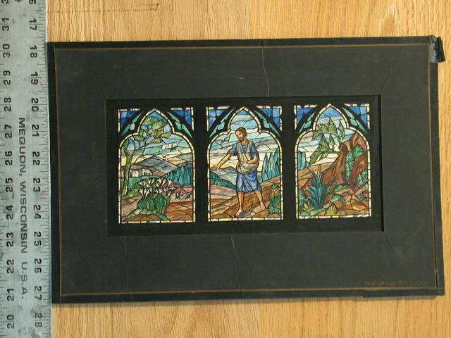 [Design drawing for stained glass window for First Presbyterian Church in Rutherford, New Jersey, with Sower of Souls triptych with lilies and architecture]