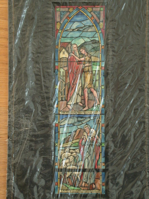 [Design drawing for stained glass window for Fort Monmouth Post Chapel in Ft. Monmouth, New Jersey, showing Lancet in rectangle with Prodigal Son and Good Shepherd. Also, Troop Command Patch to be added to bottom]