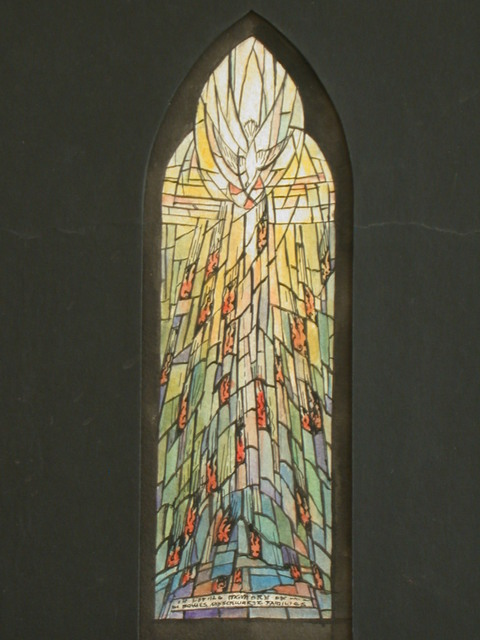 [Design drawing for stained glass window for Grace Church in Utica, New York, showing Pentecost]