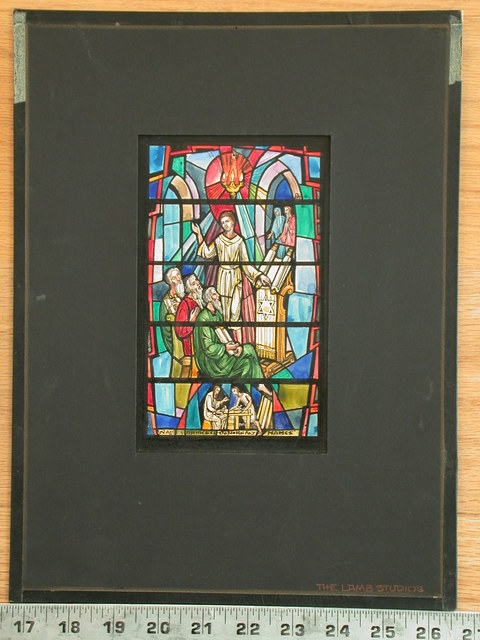 [Design drawing for stained glass window for In the Temple with a Pepin memorial window on mid grid]