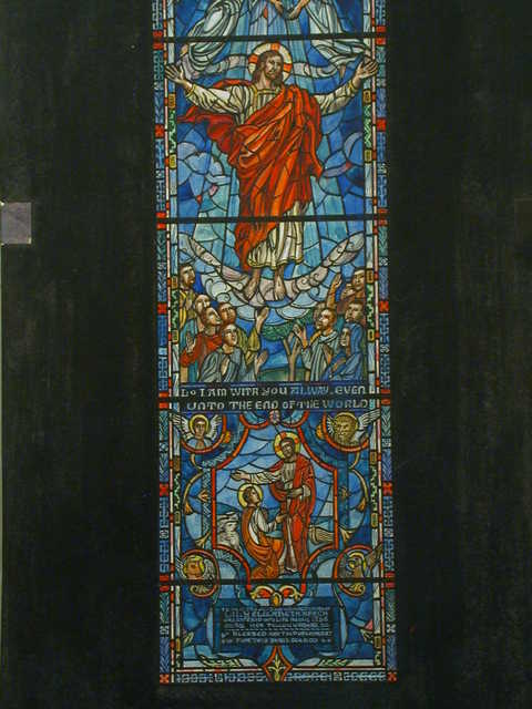 "[Design drawing for stained glass window for Lily Elizabeth Keech Memorial ""By Her Fellow Workers"" showing Ascension with text ""I am with you alway even unto the end of the world""]"