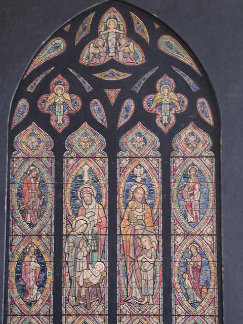 [Design drawing for stained glass window for St. Andrew's Cathedral in Honolulu, Hawaii. Shows: Christian Love, especially children; Nativity, with Joseph; Suffer the Little Children, etc.]