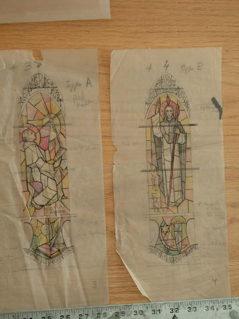 "[Design drawing for stained glass window for St. Catherine of Siena Church in Caldwell, New Jersey, with text ""I Am the Way"" and showing Christ Pantocrator with Alpha and Omega and heart]"