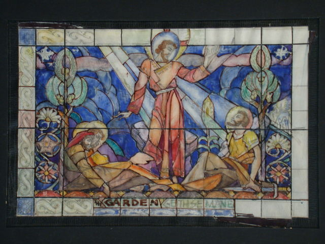 "[Design drawing for stained glass window ""Garden Gethsemane""]"