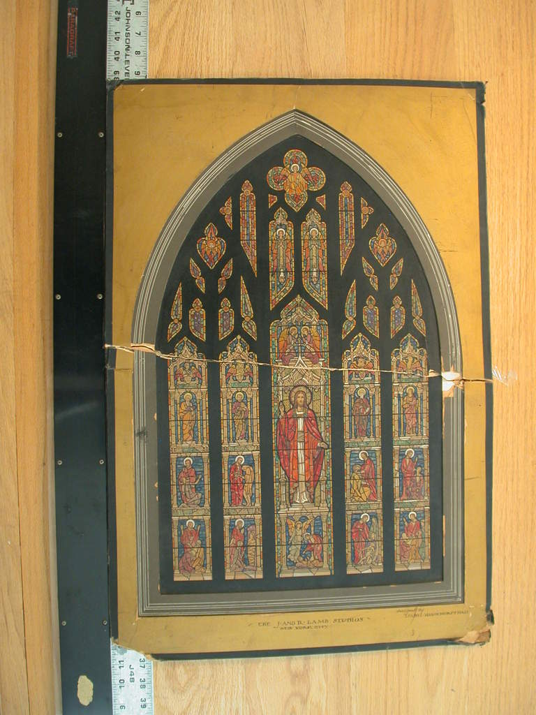 [Design drawing for stained glass window (Gothic pair or diptych)]