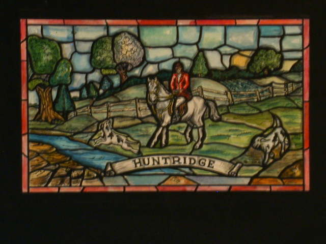 "[Design drawing for stained glass window ""Huntridge"" in Arts and Crafts-style showing redcoat equestrian, water, and trees; for Tower Restaurant]"