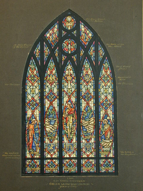 """[Design drawing for stained glass window """"I Am the Good Shepherd"""" for Grace Lutheran Church in Jersey City, New Jersey]"""