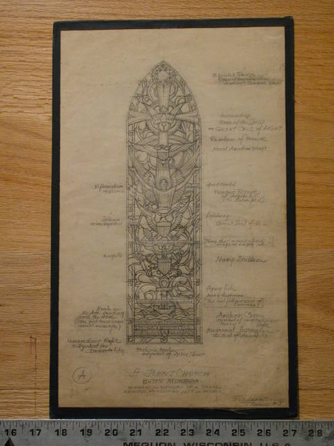 "[Design drawing for stained glass window ""In Memory of a Naval Aviator Who Lost his Life in Pacific"" for St. John's Church in Butte, Montana]"