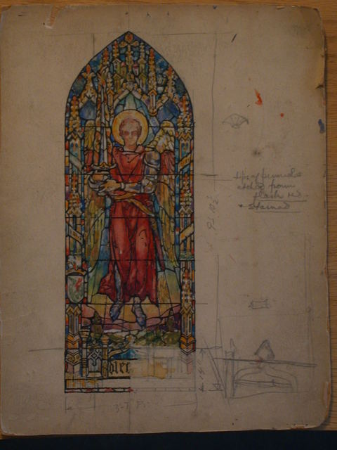 [Design drawing for stained glass window in Pre-Raphaelite/Arts and Crafts-style showing sword-wielding angel in architectural frame]