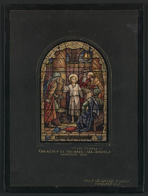 """[Design drawing for stained glass window """"In the Temple,"""" American style, beatific with architectural frame for Church of St. Michael and All Angels in Anniston, Alabama]"""