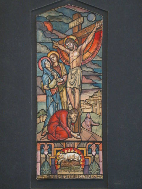 """[Design drawing for stained glass window """"It is Finished"""" showing Crucifixion with soldier, architecture, sun and moon, lamb]"""