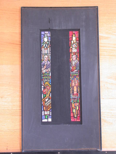 [Design drawing for stained glass window: Johann Sebastian Bach: To the Glory of God; and Martin Luther: A Mighty Fortress is Our God]