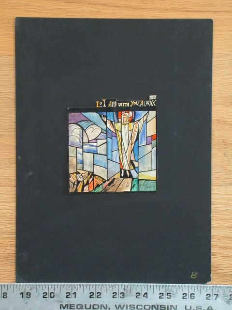 """[Design drawing for stained glass window """"Lo I am with you Alway"""" showing Ascension with footprints]"""