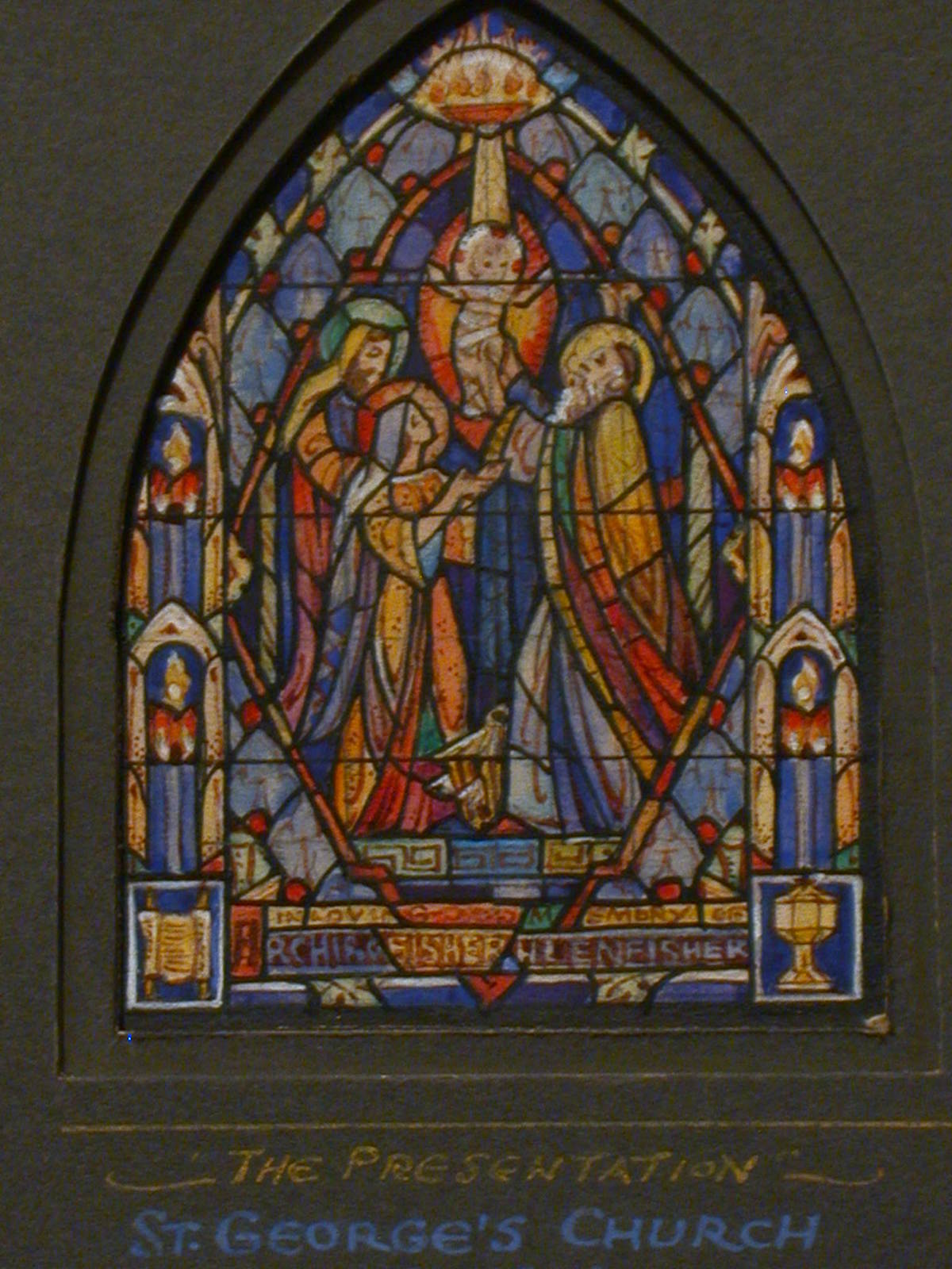 [Design drawing for stained glass window memorial window in loving memory of A[?] Fisher [H?] Fisher showing The Presentation for St. George's Episcopal Church in Macomb, Illinois]