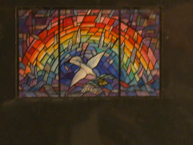 "[Design drawing for stained glass window ""Mercy, The Rainbow of God's Covenant. His eternal protection of his creatures and the dove, his messenger""]"