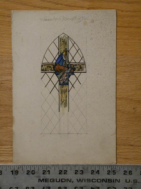 "[Design drawing for stained glass window ""Miraculous Draught of Fish""]"