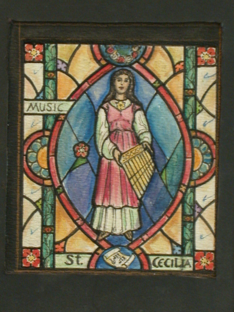 """[Design drawing for stained glass window """"Music"""" showing St. Cecilia holding pan flute; with sheet music scroll]"""