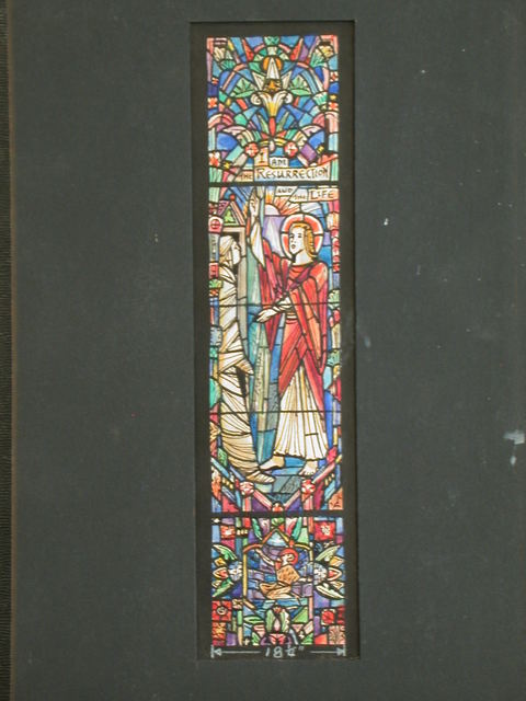 "[Design drawing for stained glass window of Lazarus with text ""I Am The Resurrection And The Life""]"