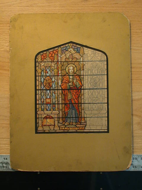 [Design drawing for stained glass window of St. John, with chalice and host, and eagle crests in architectural frame with inscription spaces]