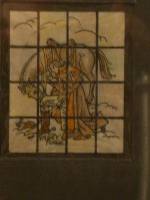 [Design drawing for stained glass window of Valley Forge showing George Washington with horse, drawing in snow with saber]