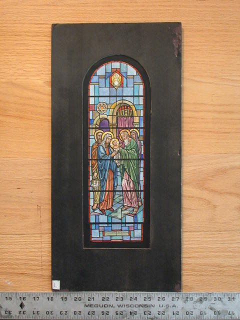 """[Design drawing for stained glass window """"Presentation in the Temple""""]"""