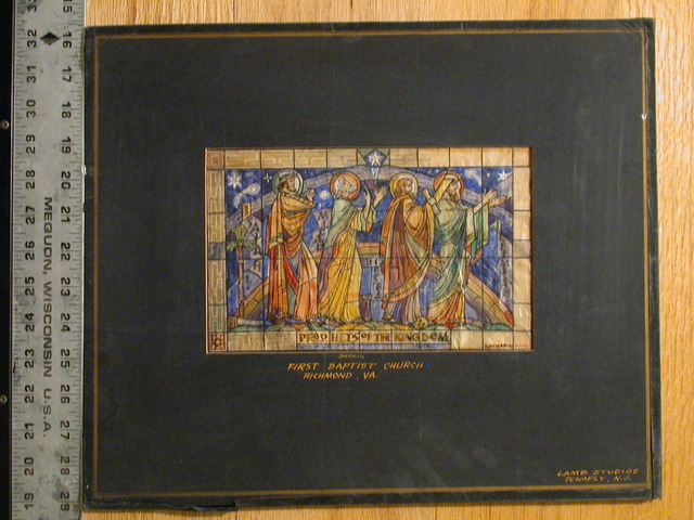 """[Design drawing for stained glass window """"Prophets of the Kingdom"""" for First Baptist Church in Richmond, Virginia]"""