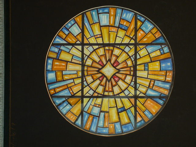 [Design drawing for stained glass window ray of light tondo in blues and oranges for St. Gertrude Church in Bayville, New York]