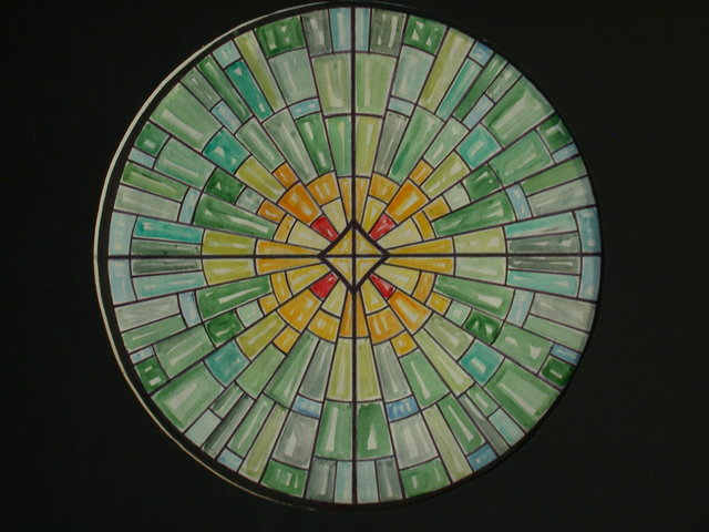 [Design drawing for stained glass window ray of light tondos in greens for St. Gertrude Roman Catholic Church in Bayville, New York]
