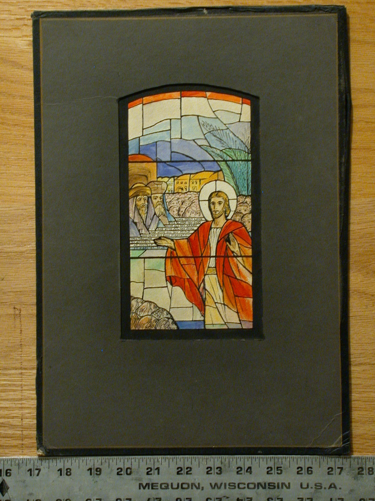 """[Design drawing for stained glass window related to Mark 12:30 """"Thou Shalt Love the Lord..., and Christ with the masses""""]"""