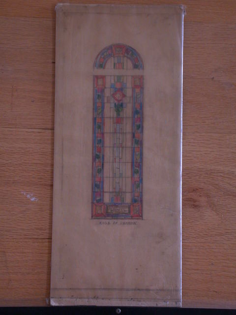 "[Design drawing for stained glass window ""Rose of Sharon"" with Macintosh-style flower on grid]"