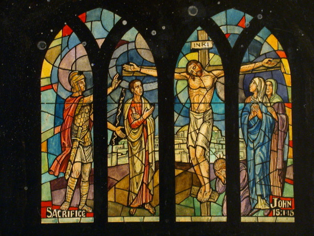"""[Design drawing for stained glass window """"Sacrifice""""]"""