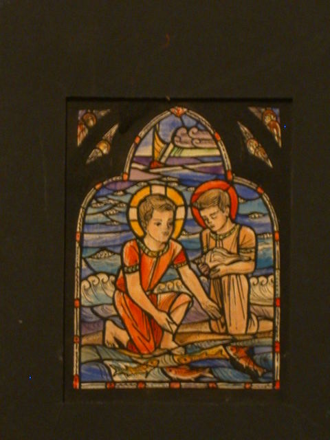 [Design drawing for stained glass window showing 2 haloed boys (Christ and John the Baptist?) at beach with ship, fish and shell]