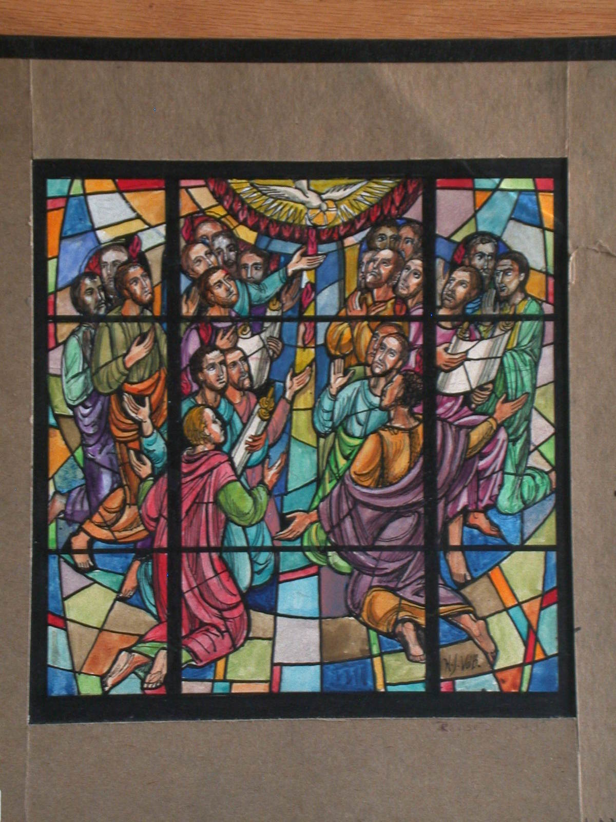 [Design drawing for stained glass window showing 22 figures kneeling, praying to dove, with flame and light for Union Methodist Church in Springhill / New Orleans, Louisiana]