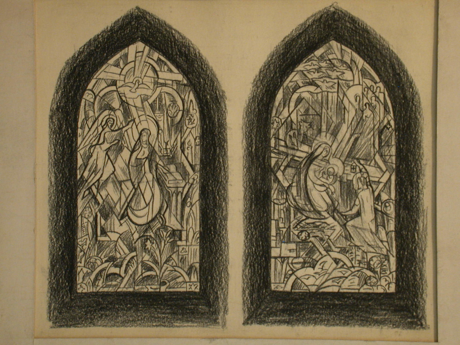 [Design drawing for stained glass window showing abstracted Annunciation; and Nativity]
