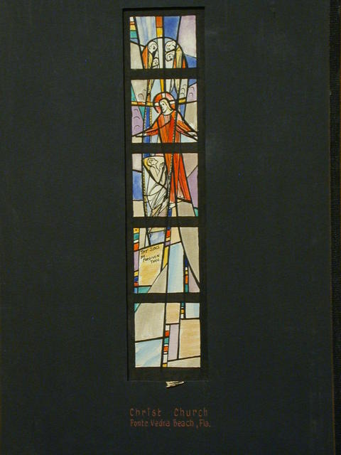 """[Design drawing for stained glass window showing abstracted Christ, worshipper, angels over colorful geometric background with text """"Thy Sins Be Forgiven Thee"""" for Christ Church in Ponte Vedra Beach, Florida]"""