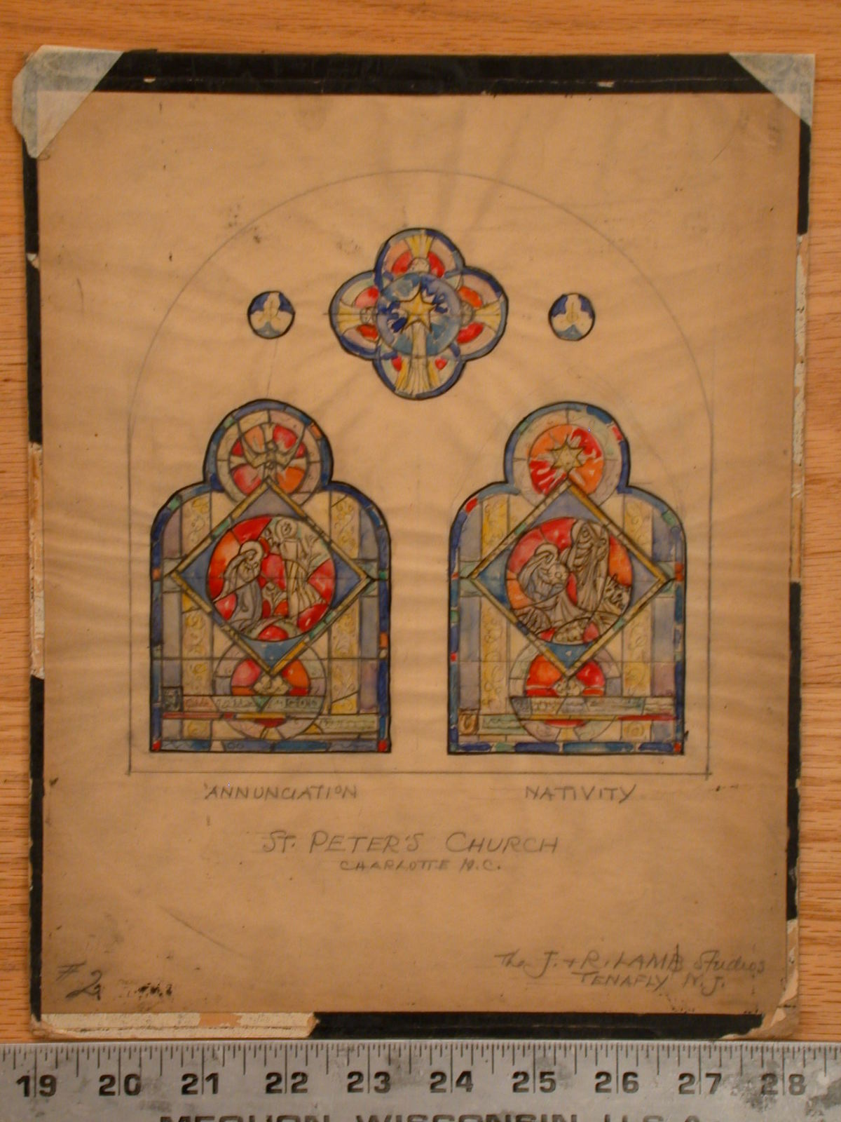 [Design drawing for stained glass window showing Annunciation and Nativity with formal, stylized Gothic figures in a five-window composition to beset in arch or niche for St. Peter's Episcopal Church in Charlotte, North Carolina]