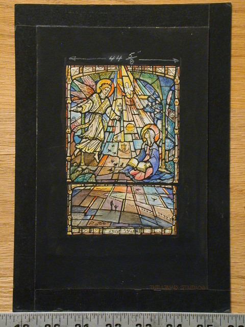 [Design drawing for stained glass window showing Annunciation with lilies, book, ships, birds, architecture, beach, and birds]